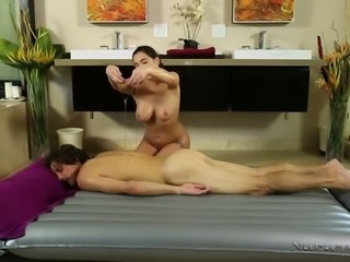 Big boobed sweet brunette Karlee Grey pleases feverish client with solid BJ...