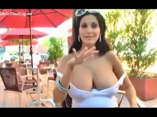 Busty hot wife is flashing big natural boobs round ass and wet cunt in public