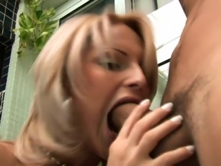 Hot blonde shemale gets her hard tool sucked by hot guy