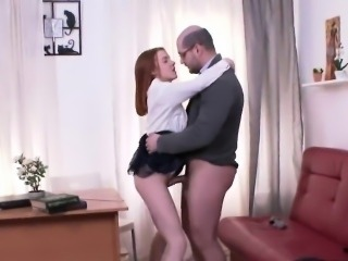 Erotic schoolgirl gets teased and fucked by her elder instru