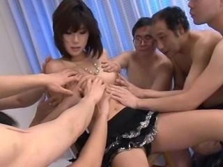 Randy mature men want to touch a pretty brunette's body