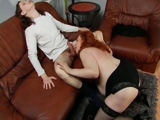 Skinny white young dude worships chunky mature BBW woman