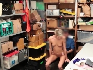 Petite blonde fucked in the library