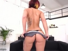 Fine redhead woman with sexy ass and fake perky breasts eats two dicks
