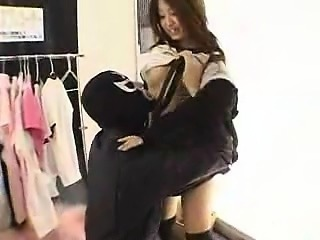 Pretty Japanese babe with a fabulous ass gets fucked by a m