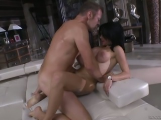 Brunette sassy milf in pink dress rimmed from behind and boned with a huge cock