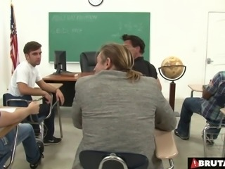 Classroom gangbang of the sluttiest teacher in the school