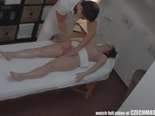 We expect our masseurs and masseuses to conduct themselves with the utmost degree of professionalism. This one does us proud, as he completely serves the client anything she wishes, even a good, hard fucking.