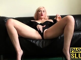 Submissive bitch will do anything her master tells her to