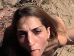 Babe sucked cops big dick on the beach pov