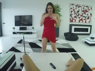 Gorgeous and busty babe in red dress wants to suck meaty cock of a young man