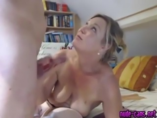 Mature blonde sucking a small wiener with a lot of enthusiasm