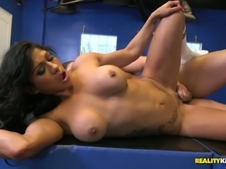 Busty and magnificent bronze skin brunette seduces and fucks a white guy