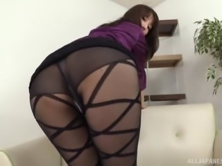 Japanese beauty riding a dildo thinking about achieving the top