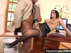 Shes so dedicated that she lets her boss fuck her ass