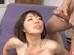 Leggy Asian bitch in sexy stripped bikini Izumi Manaka likes getting her...