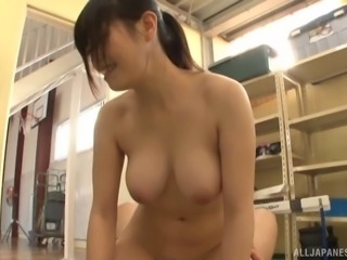 Japanese sex bomb with amazing tits attacked by a randy fellow