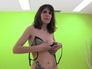 Saggy tittied brunette Daniela strips and masturbates muff