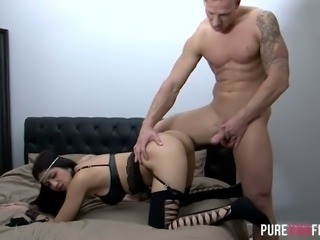 Hot like fire brunette bitch in sexy stockings Julia De Lucia gets banged in doggy style after steamy DT