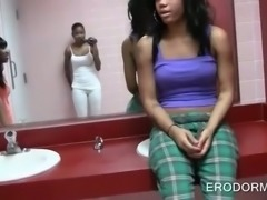 Ebony hotties showing assets in college toilet