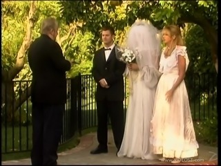 Cheating bride gets her twat mercilessly fucked by the best man