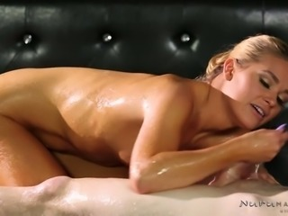 Seductive blond haired hooker Abby Cross pleasures lucky guy with steamy BJ in massage parlor