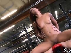 Lewd ebony lastly manages to reach the bright orgasm