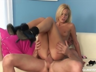 Skinny small tits blonde in high heels swallowing cum