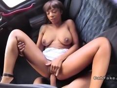 British fake taxi driver fucks ebony hottie