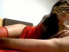 Masked charming brunette with gorgeous big rack got nailed doggy