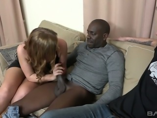 Fantastic blonde white girlfriend agrees to suck and fuck a black stranger