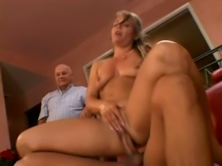 Restless and slutty blonde married woman sucks big white dick