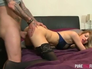Blond haired sweet hoe in stockings Mandy Slim got her kitty nailed in various positions tough