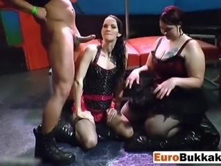 Euro sluts get drenched in piss and suck cocks