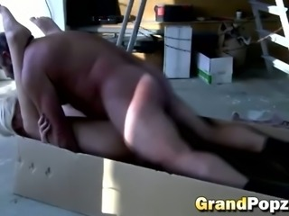 Blonde babe with glasses seduced older man with small dick. Grandpa fucked...