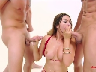 Fabulous milf in red lingerir gives amazing head and enjoys oral gangbang