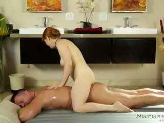 Red haired luscious hoe with big boobies Penny Pax sucks her client off in bath