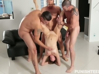 Horny men gangbang lovely young white chick on the couch