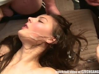 brunette euro babe is sprayed with many loads of sperm