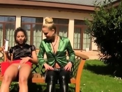 Lesbian babes urinating