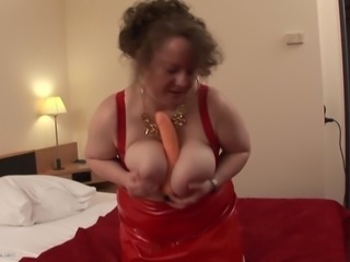 Big breasted Jasmina dolls up for a masturbation session with a dildo