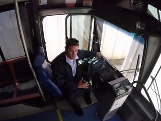 Bus driver ravishing natural tits dame hardcore in public