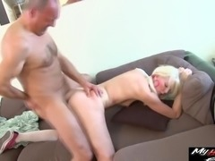 Lexi Lou gets lucky with a mature fellow's pulsating dick