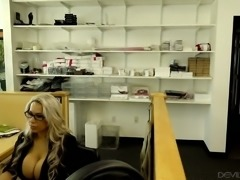 Magnificent mature blonde woman with huge boobies fucks her colleague