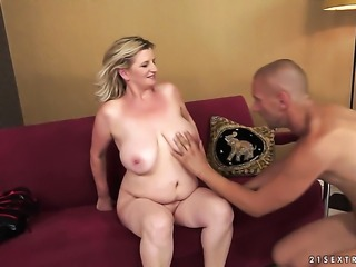 Blonde takes dudes cum loaded love