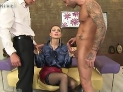 Stunning MILF with juicy oiled up tits gets double teamed