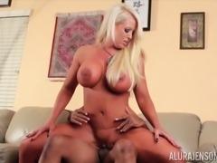 Alluring blonde Alura Jenson spreads her legs foor a black man
