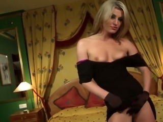 Fabulous and sassy blondie in black dress fed with cock and fucked hard on...