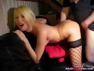 Naughty Blonde Gets Fucked Hard On The Sofa