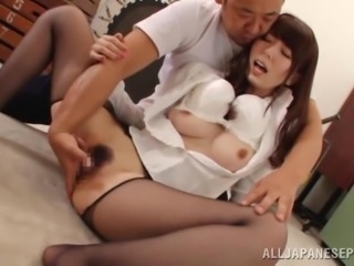 Two Japanese office girls share a weiner in hot FFM sex scene